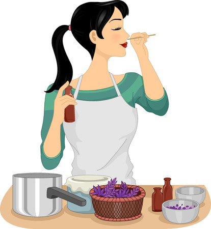 fragrant scents: Illustration of a Woman Testing Her Homemade Organic Perfume