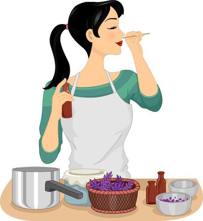 Illustration of a Woman Testing Her Homemade Organic Perfume