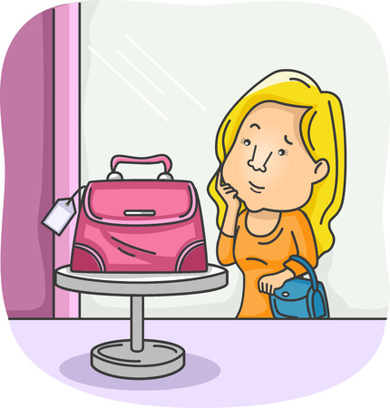 admiring: Illustration of a Girl Admiring a Bag During a Window Shopping Trip
