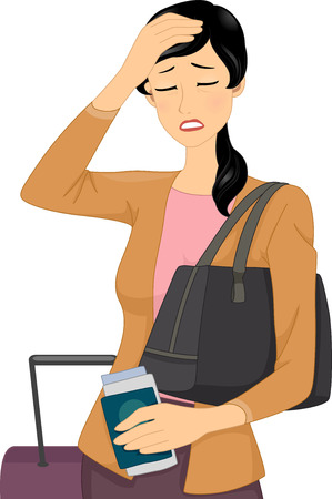 feverish: Illustration of a Female Traveler Having a Headache