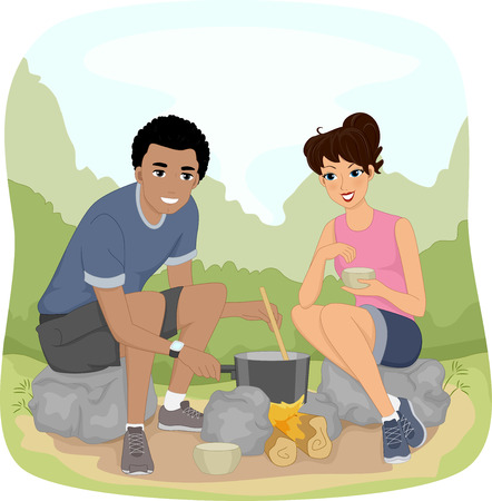 hike: Illustration of a Couple Preparing Food While Out on a Hike Stock Photo