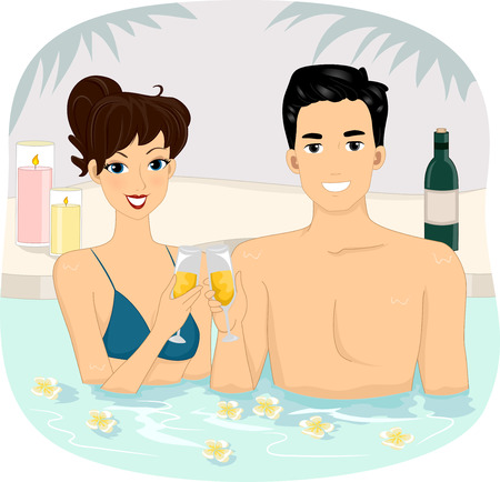 flower bath: Illustration of a Couple Making a Wine Toast at a Spa