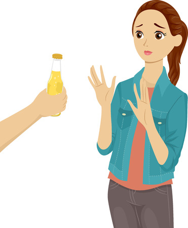 preadult: Illustration of a Teenage Girl Refusing the Bottle of Beer Being Offered to Her Stock Photo