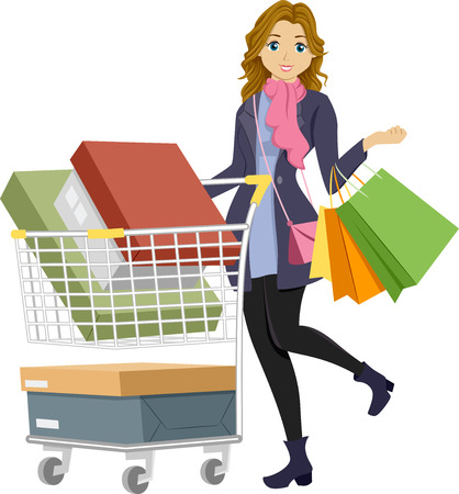 preadult: Illustration of a Teenage Girl on a Shopping Spree