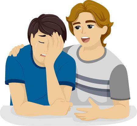 empatia: Ilustraci�n de un adolescente conforta a su llanto amigo