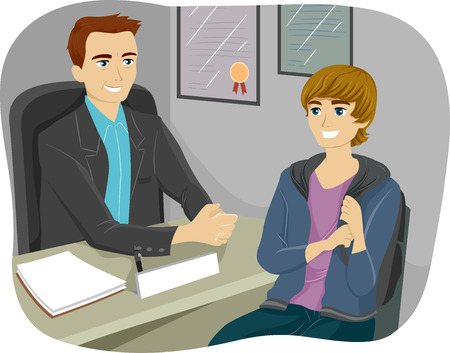 counselor: Illustration of a Teenage Boy Consulting Their Guidance Counselor