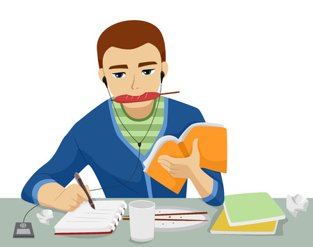 cramming: Illustration of a Teenage Boy Studying While Eating, Writing,and Listening to Music