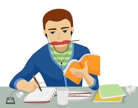 hombre escribiendo: Ilustración de un adolescente que estudia mientras que comer, escribir, y escuchar música