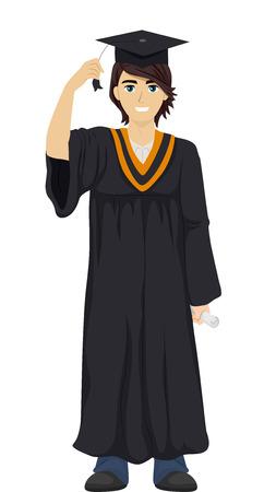 toga: Ilustración de un adolescente que llevaba una toga de graduación y Cap