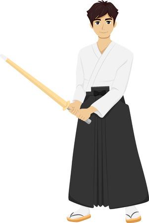 swordsmanship: Illustration of a Teenage Boy Wearing Kendo Uniform Holding a Bamboo Stick