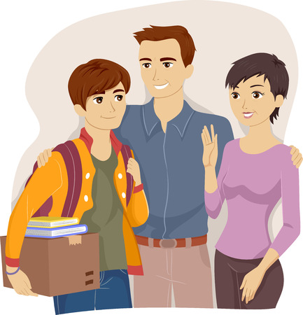 moving out: Illustration of Parents Sending Off Their Teenage Boy to College