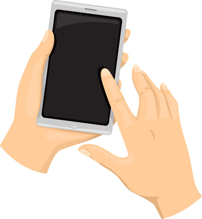 cropped: Cropped Illustration of a Person Using a Touchscreen Smartphone Stock Photo