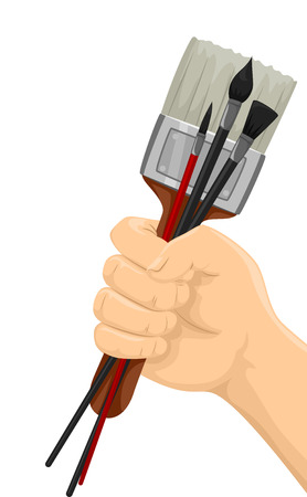 pastimes: Illustration of a Hand Holding Different Paintbrushes