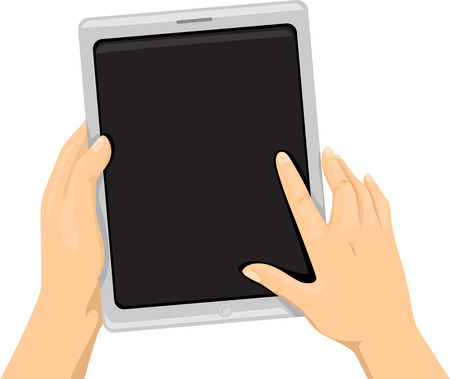 cropped: Cropped Illustration of a Person Using a Tablet Computer Stock Photo