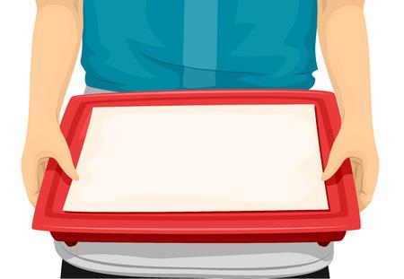 camarero: Ilustraci�n de un camarero llevando una bandeja de servir Foto de archivo