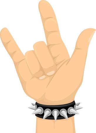 Illustratie van een hand doen het handgebaar van de Rock Sign