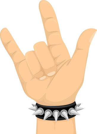 Illustration of a Hand Doing the Hand Gesture for the Rock Sign Stock Photo
