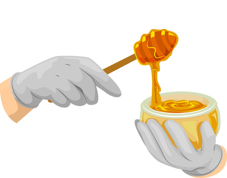 scooping: Cropped Illustration of Someone Scooping Honey Out of a Bowl Stock Photo