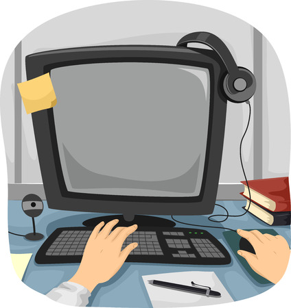 freelancing: Cropped Illustration of a Person Using a Desktop Computer to Do His Work