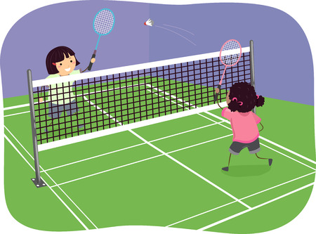 indoors: Stickman Illustration of Girls Playing Badminton Indoors Stock Photo