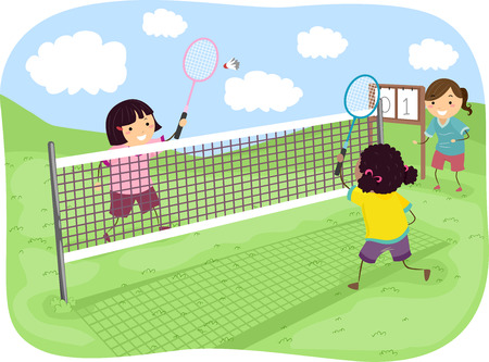 badminton racket: Stickman Illustration of Girls Playing Badminton in a Park Stock Photo