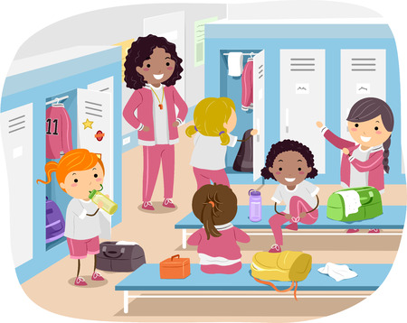 physical education: Stickman Illustration of Girls Changing in the Locker Room