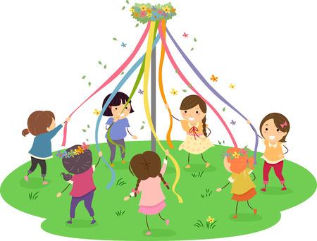 tanzen cartoon: Stickman Illustration der Mädchen tanzen um einen Maibaum Lizenzfreie Bilder