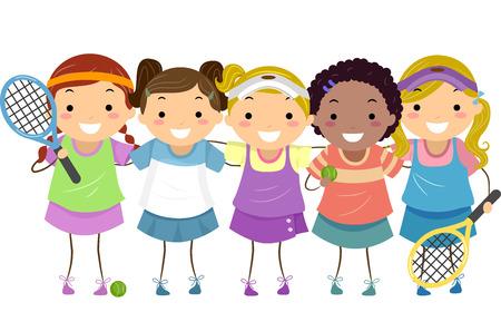 tennis girl: Stickman Illustration of Girls in Tennis Gear