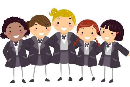 schooler: Stickman Illustration of Girls Wearing Their Winter Uniform