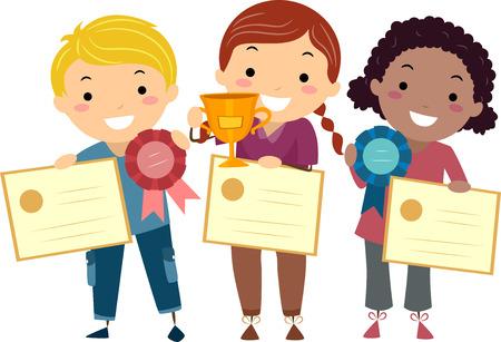 reconocimiento: Stickman Ilustración de Niños Holding certificados, cintas, y un trofeo