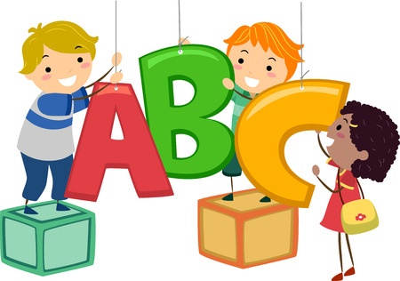 schooler: Stickman Illustration of Kids Hanging Decor in the Shape of Letters of the Alphabet Stock Photo