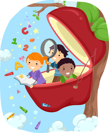 girl apple: Stickman Illustration of Kids Studying in an Apple Pod