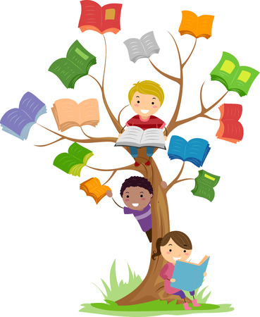 child girl: Stickman Illustration of Kids Reading Books Growing Off a Tree