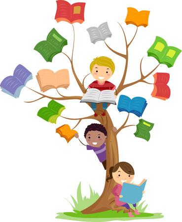 niños leyendo: Stickman Ilustración de libros de lectura para niños Crecimiento de un árbol