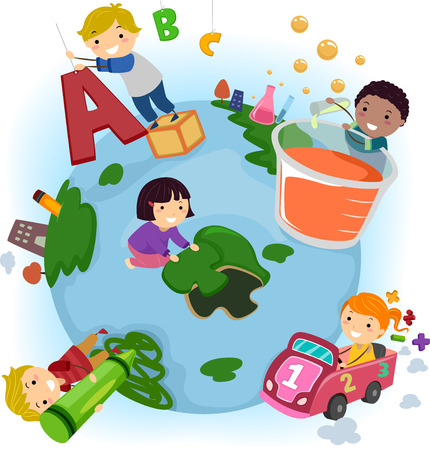 school activities: Stickman Illustration of Kids Doing Common Activities at School Stock Photo