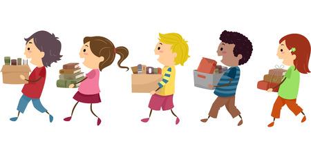 Stickman Illustratie van kinderen die dozen van oude boeken Stockfoto - 36320342