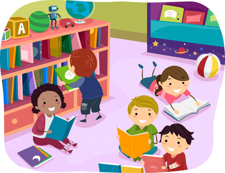storytime: Stickman Illustration of Kids Reading Their Choice of Books for Reading Time Stock Photo