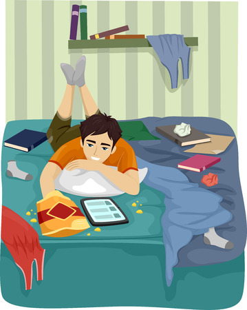 Illustration of a Teenage Boy Browsing the Internet on His Tablet in His Messy Room Stock Photo