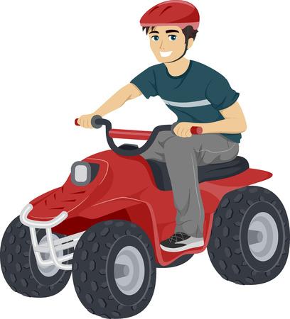 quad: Illustration of a Teenage Boy Driving a Quad Bike