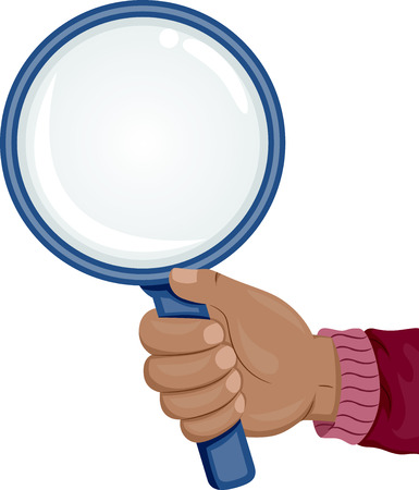 investigate: Illustration of an African Hand Holding a Magnifying Glass Stock Photo