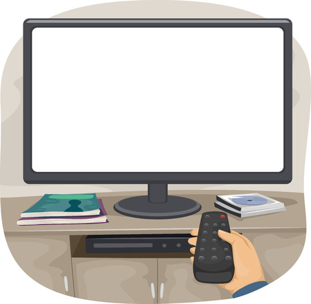 remote control: Illustration of a Person Aiming the Remote Control at the TV Stock Photo