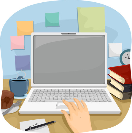 freelancing: Cropped Illustration of a Person Using a Laptop to Do His Work Stock Photo