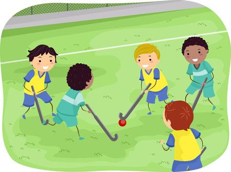 field hockey: Stickman Illustration of Boys Playing Field Hockey Stock Photo