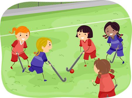 hockey sobre cesped: Stickman Ilustraci�n de las ni�as Playing Field Hockey Foto de archivo