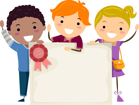 achievement clip art: Stickman Illustration of Kids Holding a Group Certificate Stock Photo