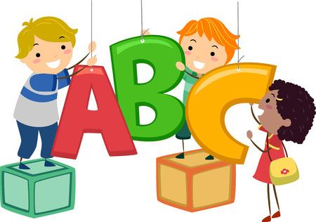 ni�os jugando: Stickman Ilustraci�n de ni�os Hanging Decor en la forma de las letras del alfabeto Foto de archivo