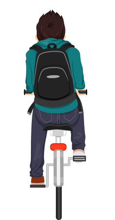 back view student: Back View Illustration of a Teenage Boy Riding on His Bike