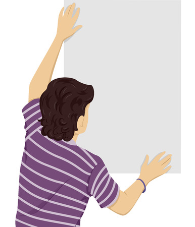 back view man: Back View Illustration of a Teenage Boy Putting Up a Blank Poster Stock Photo