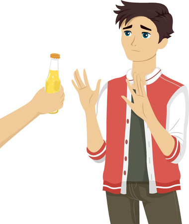 refusing: Illustration of a Teenage Boy Refusing the Bottle of Beer Being Offered to Him