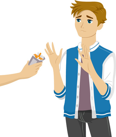 him: Illustration of a Teenage Boy Refusing the Cigarettes Being Offered to Him